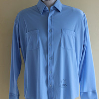 "60s Sears Mens stamped work shirt ""blue collar"" button up"
