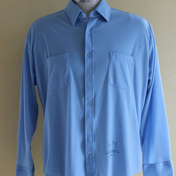 """60s Sears Mens stamped work shirt """"blue collar"""" button up"""