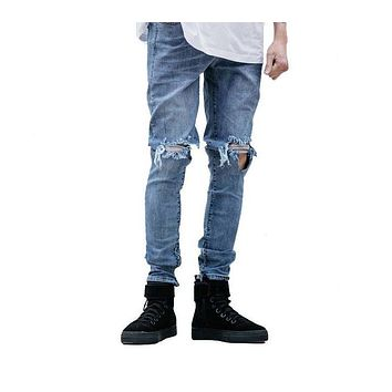 fashion high street mens destroyed jeans hole casual pants  fitness slim joggger damage jeans rock jeans