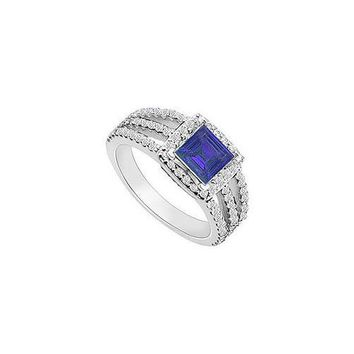 14K White Gold Princess Cut Sapphire & Diamond Engagement Ring 1.25 CT TGW