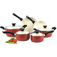 10-Piece Nonstick Ceramic Coating Cookware Set in Red