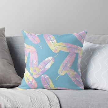 'Splatter Feathers #redbubble' Throw Pillow by designdn
