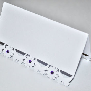 Butterfly and Flower Laser Cut Wedding Place Cards - Pack of 25