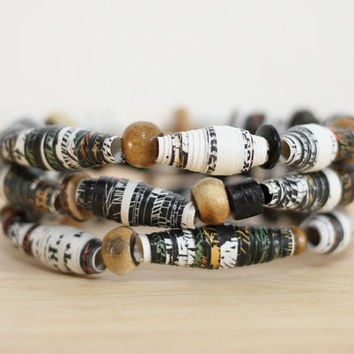 3 Recycled Paper Bead Bracelets, Handmade From Book Pages, The Princess and The Swineherd