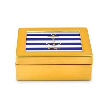 Small Modern Personalized Jewelry Box - Anchor on Stripes Print Rose Gold Royal Blue (Pack of 1)