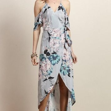 Easy Elegance Dusty Grey Floral Wrap Maxi Dress