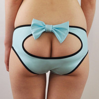 Pale blue spandex panties with bow and cheeky peep hole lingerie