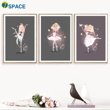 Ballet Dancing Girl princess Nursery Wall Art Canvas Painting Nordic Posters And Prints Wall Pictures For Baby Girl Room Decor