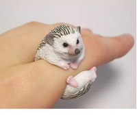 Wedding bend rings funny women 3D animal ring Hedgehog Panda Dog Pig Tiger Squirrel Lizard Bear Cat Parrot high quality