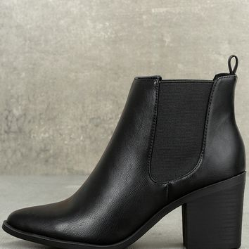 Emelda Black Pointed Toe Ankle Booties