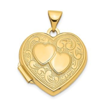 14k Yellow Gold 18mm Double Design Heart Shaped Locket