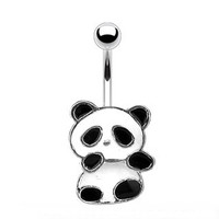 14g Cute Panda Belly Button Ring Navel Body Jewelry Piercing