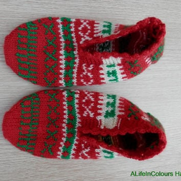 Hand knitted women's Christmas unique warm slippers, slipper socks, house socks.