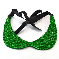 Green Sequin Collar Necklace