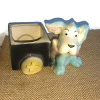 Blue dog and a crate, ceramic planter, 1940s vintage