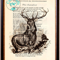 Forest Deer Drawing Beautifully Upcycled Vintage Dictionary Page Book Art Print, Stag Art Print