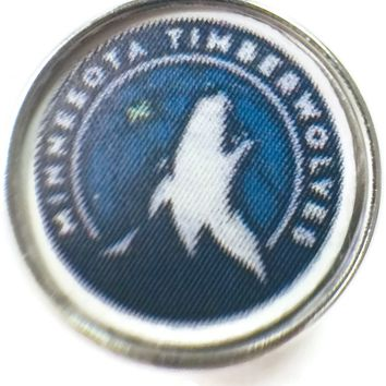 NBA Basketball Logo Minnesota Timberwolves 18MM - 20MM Fashion Snap Jewelry Snap Charm New Item
