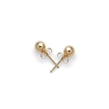 Tiny Round Ball Stud Earrings Cartilage Real 14K Yellow Gold 4MM