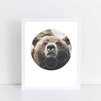 Big Bear Buddy Art Print - Inspirational Forrest Animal Wall Art, Grizzly Teddy Bear Geometric Photography, Printable Nature Animal Poster