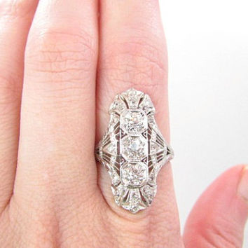 Antique Platinum Diamond Ring, approx 1.21 cts, Old European and Old Mine Cut Diamonds, Filigree, Hand Engraving, Edwardian to Art Deco