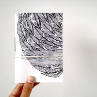 Handmade Pocket Journal with Leaves Print, Hand Printed with Linocut in Black and White, Botanical Notebook,