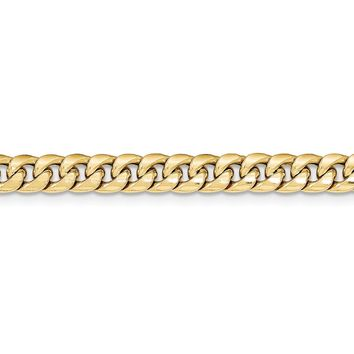 Men's 6.75mm 14k Yellow Gold Hollow Cuban Curb Chain Necklace
