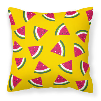 Watermelon on Yellow Fabric Decorative Pillow BB5144PW1818