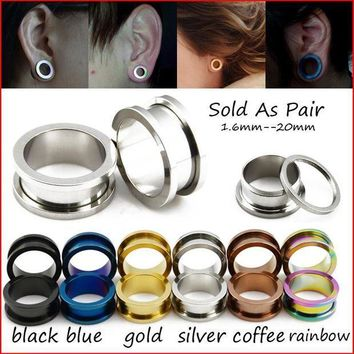 ac ICIKO2Q BOG- 1 Pair Titanium Anodized Blue Gold Black Screw On Hollow Tunnels Ear Plugs Earlets Expanders Gauges Body Piercing Jewelry