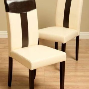 NEW * Warehouse of Tiffany Leather Oak & Black Dining Chair Set of 2 Dining Room