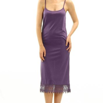 Long Solid Knit lace full slip dress extender with adjustable straps