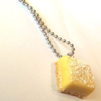 Lemon Bar Necklace, Polymer Clay Food Jewelry
