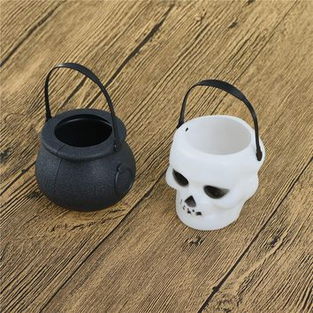 1Pc Black/White Plastic Candy Jar Skull Witch Cauldron Candy Kettle Halloween Party Hanging Props Halloween Decor