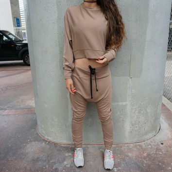 Nude Tracksuit / Crop Top and Drop Crotch