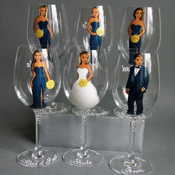 Hand painted Bridal shower party Personalized Wine or Champagne glasses Portraits and bridesmaids dresses Gift