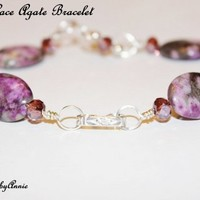 CRAZY LACE AGATE 14KT GOLD FILL AND STERLING SILVER BRACELET | IMPRESSIONSbyAnnie - Jewelry on ArtFire