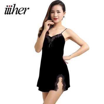 iiiher Satin Chiffon Women Nightgowns Summer Nightdress Sheer Chemises Nightshirt Lace Sleepwear Sexy Trim Nightie