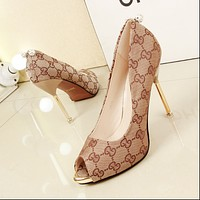 GUCCI fish head high heel shoes with high-heeled waterproof shoes