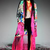 BATIK FRINGED RAINBOW 'LOVE' DUSTER