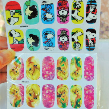 2 Packs Snoopy Nail wrap, Tinker Bell Nail Decals, water Transfer, Nail Decals, Cartoon Nails, Snoopy Decal, Nail Art, Nail Decorations,