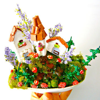 Fairy garden FAIRY VILLAGE-Miniature Medieval CITY Ceramic Pot with clay glowing Mushrooms toadstools and miniature Trees, christmas gift