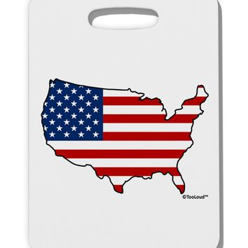 United States Cutout - American Flag Design Thick Plastic Luggage Tag by TooLoud
