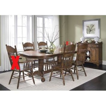 Liberty Furniture Old World 5 Piece Double Pedestal Table Set in Medium Oak Finish