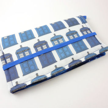 Dr Who Wallet,Tardis Fabric iPhone Clutch, Smartphone Wallet, Police Box Fabric- Blue and White