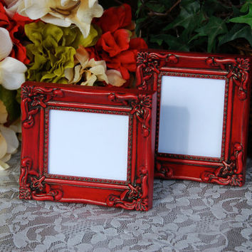 Ornate photo frames: Set of 2 vintage country cottage chic red hand-painted small decorative tabletop picture frames with easel back