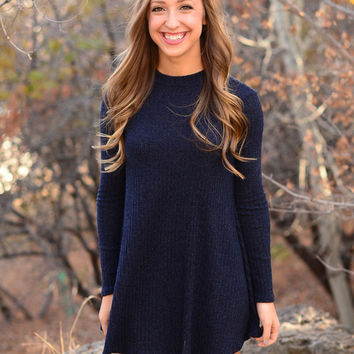 Dark Blue Keyhole Back Long Sleeve Dress