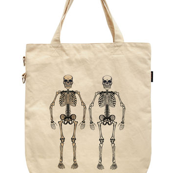 Women Skeleton Printed Canvas Tote Shoulder Bags WAS_39