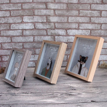 Romantic Photo Frame Home Decor European Style Retro Wood Glass Finishing Frame Wedding Gift