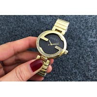 Gucci G Single G Diamond Men's and Women's Fashion Watch F-Fushida-8899 Gold + black dial