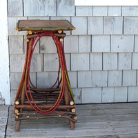 Rustic Side Table Plant Stand Bentwood Twig Furniture with Upcycled Pine Board Top