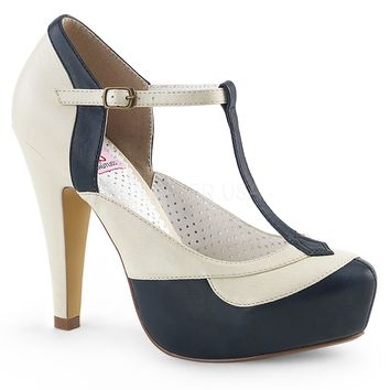Pin Up Couture Bettie-29 Blue and Cream T-strap Heels